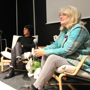 Patrik Lundberg och Katarina Mazetti, med bakgrund i Sölvesborg respektive Karlskrona berättade om det näthat de har utsatts för under senare tid. Foto: Ingemar Lönnbom.